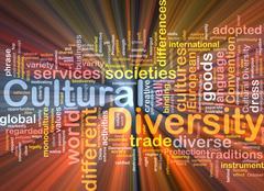 cultural diversity wordcloud concept illustration glowing - stock illustration