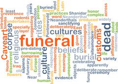 funeral wordcloud concept illustration - stock illustration