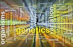 Genetics wordcloud concept illustration glowing - stock illustration