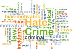 Hate crime background concept - stock illustration