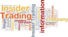 Insider trading background wordcloud concept illustration Stock Illustration