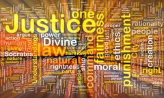 Justice background concept wordcloud glowing Stock Illustration