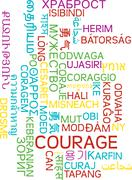 Courage multilanguage wordcloud background concept - stock illustration