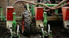 Agricultural machinery- seeder - stock footage
