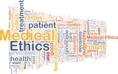 Medical ethics background wordcloud concept illustration Stock Illustration