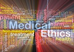 Medical ethics background concept wordcloud glowing - stock illustration