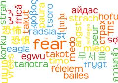 Fear multilanguage wordcloud background concept - stock illustration