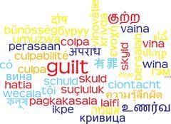 Guilt multilanguage wordcloud background concept Stock Illustration