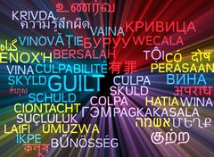 Guilt multilanguage wordcloud background concept glowing - stock illustration