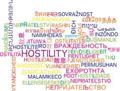 Hostility multilanguage wordcloud background concept - stock illustration