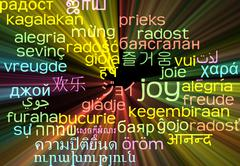 Joy multilanguage wordcloud background concept glowing Stock Illustration