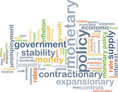 Monetary policy wordcloud concept illustration - stock illustration