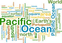 Pacific ocean wordcloud concept illustration - stock illustration