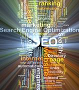 Stock Illustration of Search engine optimization SEO background concept glowing