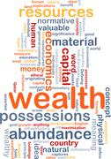 Wealth wordcloud concept illustration - stock illustration
