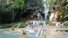 Kouangxi waterfall at Luang Prabang in Laos. Stock Footage