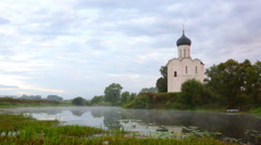Church of Intercession of Holy Virgin on Nerl River, Bogolubovo, Russia Stock Footage