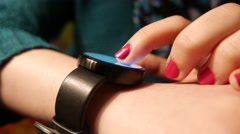 4K Smartwatch Being Used Female Girl Fingers Closeup - stock footage