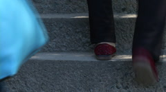 People climbing stairs Stock Footage
