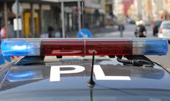 Flashing sirens of police car during the roadblock in the city Stock Photos