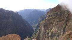 4k Rough mountain peaks area Pico do Arieiro in Madeira Stock Footage