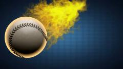 Slow motion burning baseball ball. Alpha matted Stock Footage