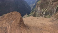 Stock Video Footage of 4k Mountain peaks landscape tilt up thick clouds Madeira