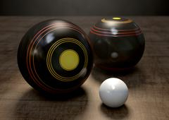Lawn Bowls And Jack - stock illustration