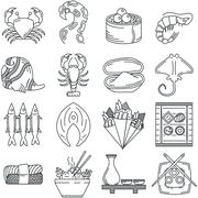 Black line icon collection of sea food Piirros