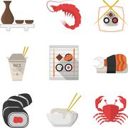Seafood flat color icons collection Stock Illustration