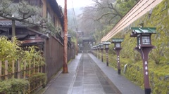 Kyoto Temple path on rainy day - stock footage