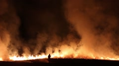 Fire on the field Stock Footage
