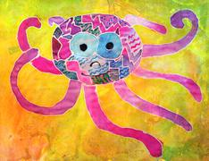Kid's aquarelle drawing of octopus Stock Illustration