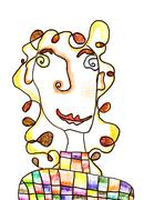 Portrait of a girl, child's drawing Stock Illustration