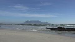 Bloubergstrand, South Africa (view to Cape Town) Stock Footage