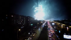 Fireworks from Ostankinskaya TV tower during festival Stock Footage
