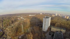 City outskirts with national park on Elk island in Moscow Stock Footage