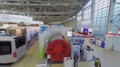 Stand and exhibits in pavilion of exhibition ExpoCityTrans. Stock Footage