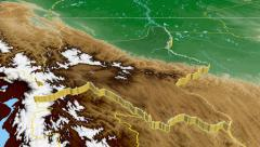 Cochabamba - Bolivia department extruded. Bumps shaded. Stock Footage