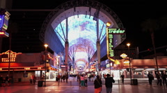 Wide angle shot of Freemont street in Downtown Las Vegas - stock footage