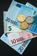European Currency, Euro Banknotes,Bills and Coins - stock photo