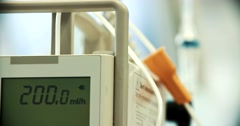 An IV intravenous and equipment Stock Footage
