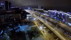 Panorama of Kutuzovsky highway with transport traffic Stock Footage