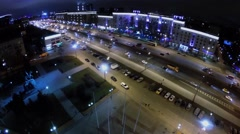 Traffic on Kutuzovsky highway near monument of M.I. Kutuzov Stock Footage