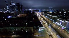 Cityscape with skyscrapers complex and transport traffic Stock Footage