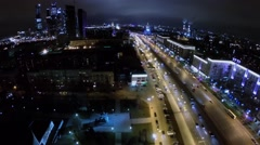 Cityscape with skyscrapers complex and Kutuzovsky highway Stock Footage