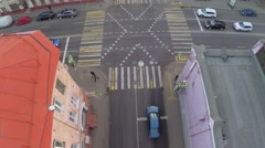 Crossroad with several cars at autumn day. Aerial view Stock Footage
