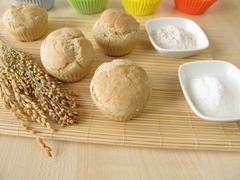 Bread muffins with spelt flour, millet flour, rice flour - stock photo