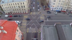 Crossroad with traffic at autumn day. Aerial view Stock Footage