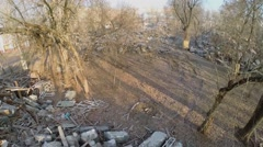 Debris of old building after wrecking for redevelopment Stock Footage